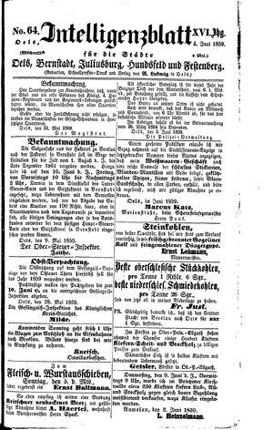 Intelligenzblatt für die Städte Oels, Bernstadt, Juliusburg, Hundsfeld und Festenberg vom 04.06.1859