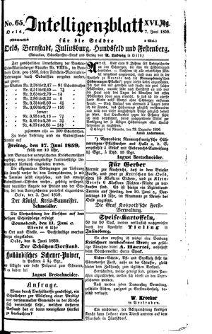 Intelligenzblatt für die Städte Oels, Bernstadt, Juliusburg, Hundsfeld und Festenberg vom 07.06.1859