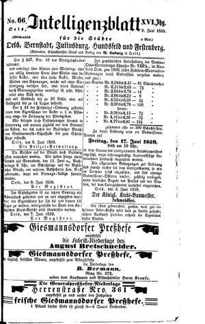 Intelligenzblatt für die Städte Oels, Bernstadt, Juliusburg, Hundsfeld und Festenberg vom 09.06.1859