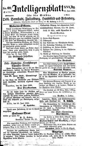 Intelligenzblatt für die Städte Oels, Bernstadt, Juliusburg, Hundsfeld und Festenberg vom 16.06.1859
