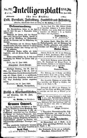 Intelligenzblatt für die Städte Oels, Bernstadt, Juliusburg, Hundsfeld und Festenberg vom 23.06.1859
