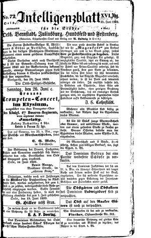 Intelligenzblatt für die Städte Oels, Bernstadt, Juliusburg, Hundsfeld und Festenberg vom 25.06.1859
