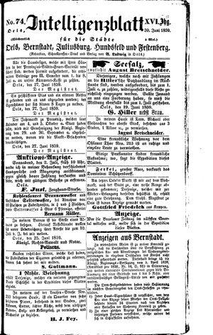 Intelligenzblatt für die Städte Oels, Bernstadt, Juliusburg, Hundsfeld und Festenberg vom 30.06.1859