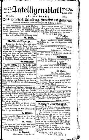 Intelligenzblatt für die Städte Oels, Bernstadt, Juliusburg, Hundsfeld und Festenberg vom 05.07.1859