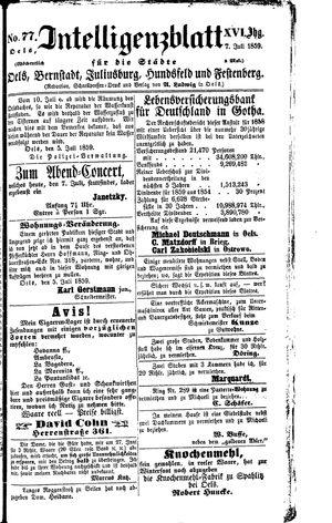 Intelligenzblatt für die Städte Oels, Bernstadt, Juliusburg, Hundsfeld und Festenberg vom 07.07.1859