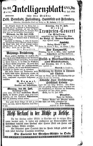 Intelligenzblatt für die Städte Oels, Bernstadt, Juliusburg, Hundsfeld und Festenberg vom 16.07.1859