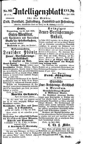 Intelligenzblatt für die Städte Oels, Bernstadt, Juliusburg, Hundsfeld und Festenberg vom 21.07.1859