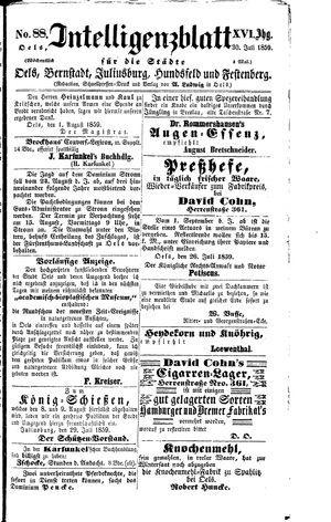 Intelligenzblatt für die Städte Oels, Bernstadt, Juliusburg, Hundsfeld und Festenberg vom 02.08.1859