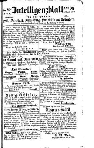 Intelligenzblatt für die Städte Oels, Bernstadt, Juliusburg, Hundsfeld und Festenberg vom 04.08.1859