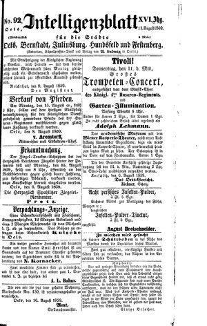 Intelligenzblatt für die Städte Oels, Bernstadt, Juliusburg, Hundsfeld und Festenberg vom 11.08.1859
