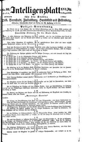 Intelligenzblatt für die Städte Oels, Bernstadt, Juliusburg, Hundsfeld und Festenberg vom 13.08.1859