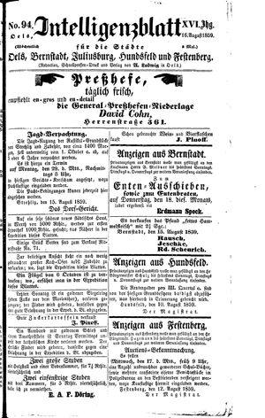 Intelligenzblatt für die Städte Oels, Bernstadt, Juliusburg, Hundsfeld und Festenberg vom 16.08.1859