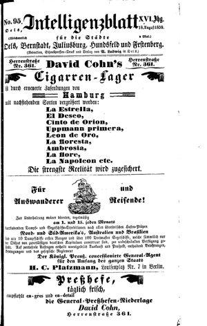 Intelligenzblatt für die Städte Oels, Bernstadt, Juliusburg, Hundsfeld und Festenberg vom 18.08.1859
