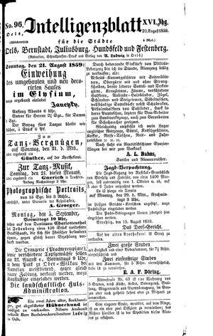 Intelligenzblatt für die Städte Oels, Bernstadt, Juliusburg, Hundsfeld und Festenberg vom 20.08.1859