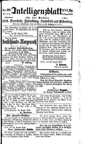 Intelligenzblatt für die Städte Oels, Bernstadt, Juliusburg, Hundsfeld und Festenberg vom 25.08.1859