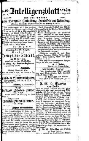Intelligenzblatt für die Städte Oels, Bernstadt, Juliusburg, Hundsfeld und Festenberg vom 27.08.1859