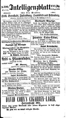 Intelligenzblatt für die Städte Oels, Bernstadt, Juliusburg, Hundsfeld und Festenberg vom 30.08.1859