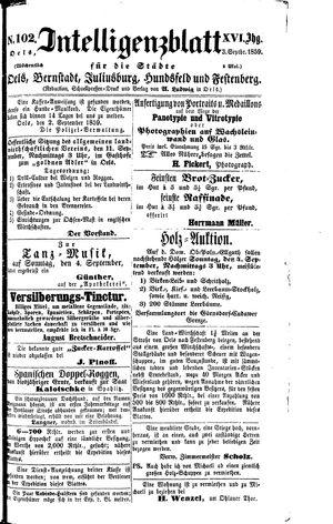 Intelligenzblatt für die Städte Oels, Bernstadt, Juliusburg, Hundsfeld und Festenberg vom 03.09.1859
