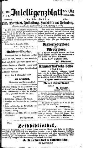 Intelligenzblatt für die Städte Oels, Bernstadt, Juliusburg, Hundsfeld und Festenberg vom 10.09.1859