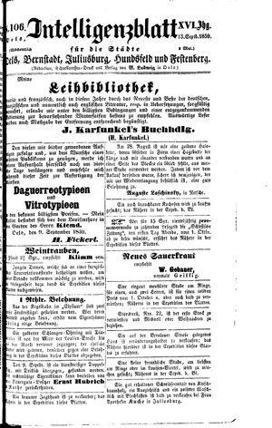Intelligenzblatt für die Städte Oels, Bernstadt, Juliusburg, Hundsfeld und Festenberg vom 13.09.1859