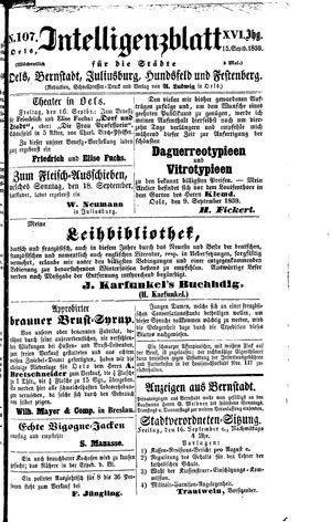 Intelligenzblatt für die Städte Oels, Bernstadt, Juliusburg, Hundsfeld und Festenberg vom 15.09.1859