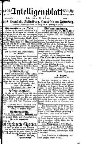 Intelligenzblatt für die Städte Oels, Bernstadt, Juliusburg, Hundsfeld und Festenberg vom 20.09.1859