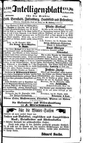Intelligenzblatt für die Städte Oels, Bernstadt, Juliusburg, Hundsfeld und Festenberg vom 22.09.1859