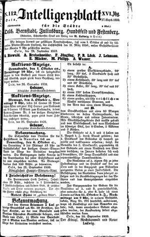 Intelligenzblatt für die Städte Oels, Bernstadt, Juliusburg, Hundsfeld und Festenberg vom 27.09.1859