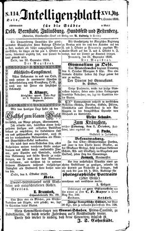 Intelligenzblatt für die Städte Oels, Bernstadt, Juliusburg, Hundsfeld und Festenberg vom 01.10.1859