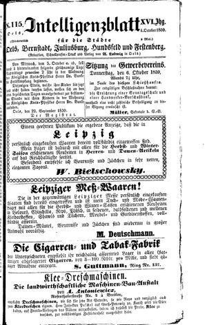 Intelligenzblatt für die Städte Oels, Bernstadt, Juliusburg, Hundsfeld und Festenberg vom 04.10.1859