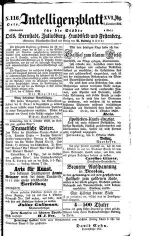 Intelligenzblatt für die Städte Oels, Bernstadt, Juliusburg, Hundsfeld und Festenberg vom 06.10.1859