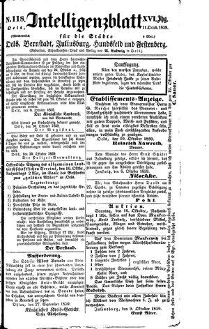 Intelligenzblatt für die Städte Oels, Bernstadt, Juliusburg, Hundsfeld und Festenberg vom 11.10.1859