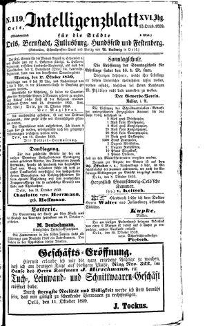 Intelligenzblatt für die Städte Oels, Bernstadt, Juliusburg, Hundsfeld und Festenberg vom 13.10.1859