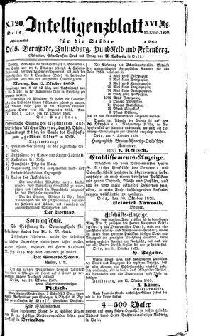 Intelligenzblatt für die Städte Oels, Bernstadt, Juliusburg, Hundsfeld und Festenberg vom 15.10.1859