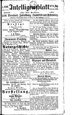 Intelligenzblatt für die Städte Oels, Bernstadt, Juliusburg, Hundsfeld und Festenberg vom 25.10.1859