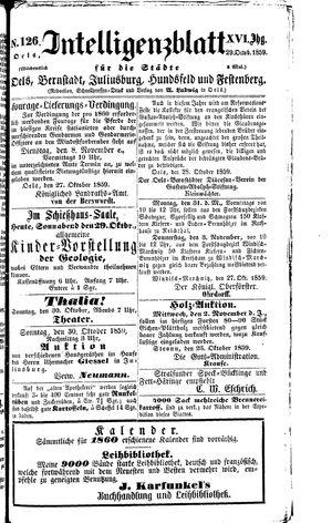 Intelligenzblatt für die Städte Oels, Bernstadt, Juliusburg, Hundsfeld und Festenberg vom 29.10.1859