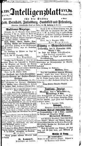 Intelligenzblatt für die Städte Oels, Bernstadt, Juliusburg, Hundsfeld und Festenberg vom 03.11.1859