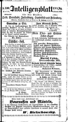 Intelligenzblatt für die Städte Oels, Bernstadt, Juliusburg, Hundsfeld und Festenberg vom 08.11.1859