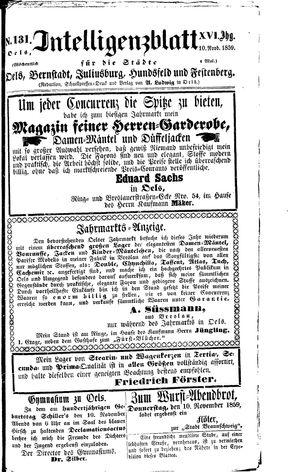 Intelligenzblatt für die Städte Oels, Bernstadt, Juliusburg, Hundsfeld und Festenberg vom 10.11.1859