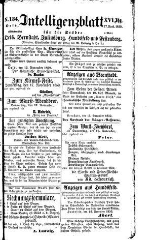 Intelligenzblatt für die Städte Oels, Bernstadt, Juliusburg, Hundsfeld und Festenberg vom 17.11.1859
