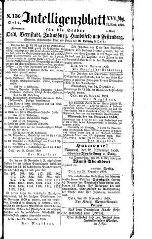 Intelligenzblatt für die Städte Oels, Bernstadt, Juliusburg, Hundsfeld und Festenberg vom 22.11.1859