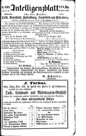 Intelligenzblatt für die Städte Oels, Bernstadt, Juliusburg, Hundsfeld und Festenberg vom 26.11.1859