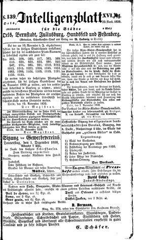 Intelligenzblatt für die Städte Oels, Bernstadt, Juliusburg, Hundsfeld und Festenberg vom 29.11.1859