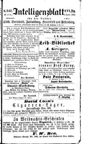 Intelligenzblatt für die Städte Oels, Bernstadt, Juliusburg, Hundsfeld und Festenberg on Dec 3, 1859