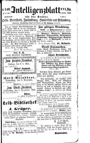 Intelligenzblatt für die Städte Oels, Bernstadt, Juliusburg, Hundsfeld und Festenberg vom 08.12.1859