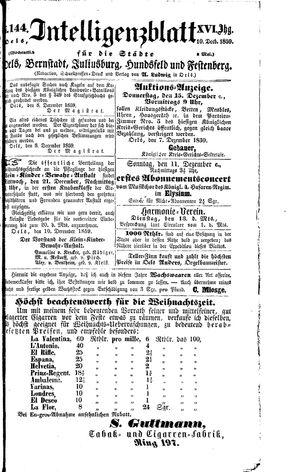 Intelligenzblatt für die Städte Oels, Bernstadt, Juliusburg, Hundsfeld und Festenberg vom 10.12.1859
