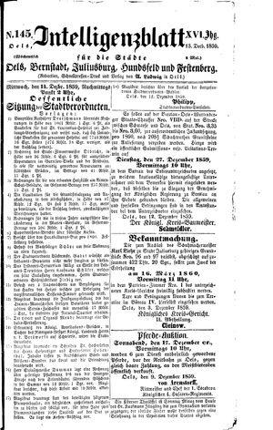 Intelligenzblatt für die Städte Oels, Bernstadt, Juliusburg, Hundsfeld und Festenberg vom 13.12.1859