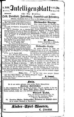 Intelligenzblatt für die Städte Oels, Bernstadt, Juliusburg, Hundsfeld und Festenberg vom 20.12.1859