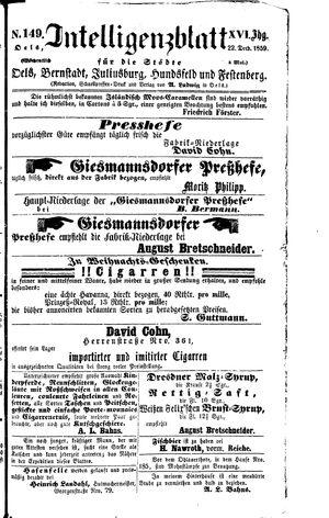 Intelligenzblatt für die Städte Oels, Bernstadt, Juliusburg, Hundsfeld und Festenberg vom 22.12.1859