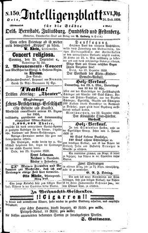 Intelligenzblatt für die Städte Oels, Bernstadt, Juliusburg, Hundsfeld und Festenberg vom 24.12.1859